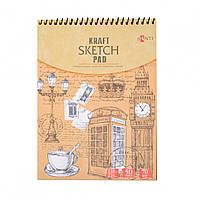 Альбом с крафтовой бумагой Santi,A5 50 листов верхняя спираль 742610