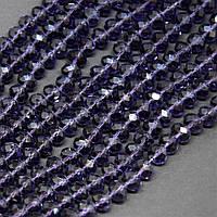 """Бусины стекло прозрачное цвет светло фиолетовое """"рондель"""", диаметр 8х6мм, длина 40см"""