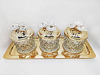 Набор баночек для специй и приправ MCA Vizyon из мельхиора с позолотой УЦЕНКА!!! (ПОТЕРТОСТИ НА КРЫШКЕ)