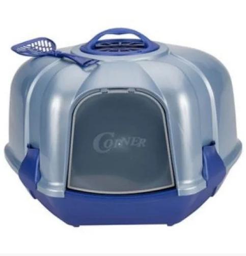 Туалет CORNER BLUE для котів  закритий  кутовий з фільтром та лопаткой, 52*59,5*44,5 см