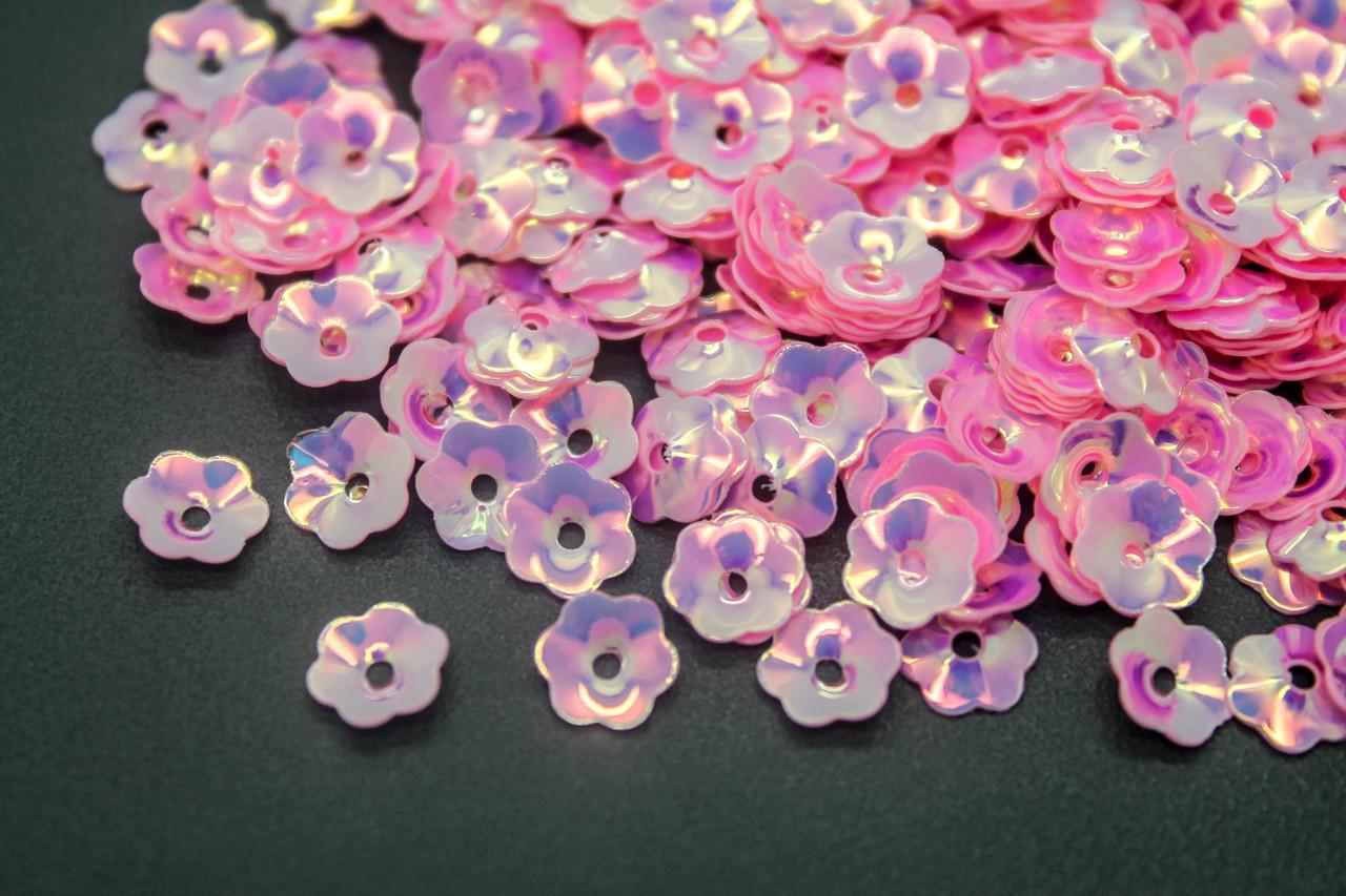 Паєтки Квіти. Діаметр 8 мм, Колір Рожевий, В упаковці 25г.