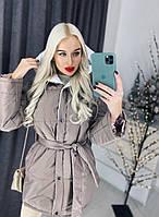 Куртка женская зимняя на кнопках 42р коричневый (СКЛАД), фото 1