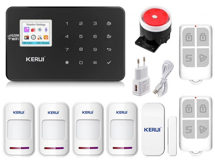 Комплект сигналізації Kerui Wi-Fi W18 для 3-кімнатної квартири чорна! Гарантія 24 місяці!