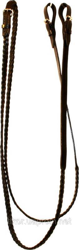 Повод для лошади кожаный плетеный