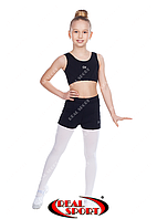 Комплект топ-шорты для гимнастики, танцев и пол денса, черный GM080010 (бифлекс, р-р 2-4, рост 110-140см)
