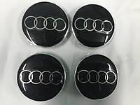 Audi 65мм V3 под стеклом (4 шт) Колпачки в титановые диски