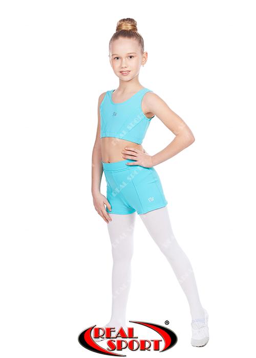 Топ-шорты для гимнастики и танцев мятный GM080013 (бифлекс, р-р 2-4, рост 110-140 см)