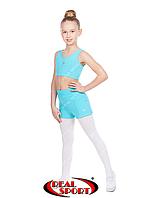 Комплект топ-шорты для гимнастики, танцев и пол денса, мятный GM080013 (бифлекс, р-р 2-4, рост 110-140см)