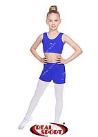 Комплект топ-шорты для гимнастики, танцев и пол денса, синий GM080014(бифлекс, р-р 2-4, рост 110-140см)