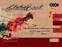 Скетчбук А5, 40 листов, пружина, кремовый блок 100 г/м2