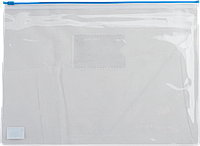 Папка-конверт А5 на молнии, прозрачная, синий
