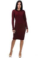 Вязаное платье Хвост, бордо, фото 1