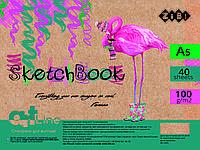 Альбом для рисования А5, 40 листов, пружина, белый блок 100 г/м2