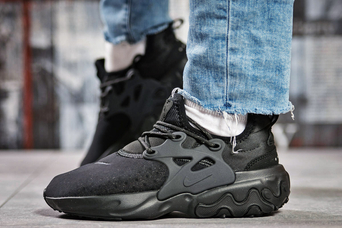 Кроссовки женские 15444, Nike React, черные, < 38 39 40 41 > р.38-23,5