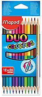 Карандаши цветные 12 штук\ 24 цвета, двусторонние, COLOR PEPS Duo, Maped