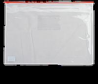Папка-конверт А5 на молнии, прозрачная, красный