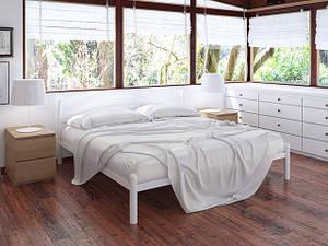 Двоспальне ліжко Тенеро Маранта 160х200 см біла металева на ніжках з узголів'ям