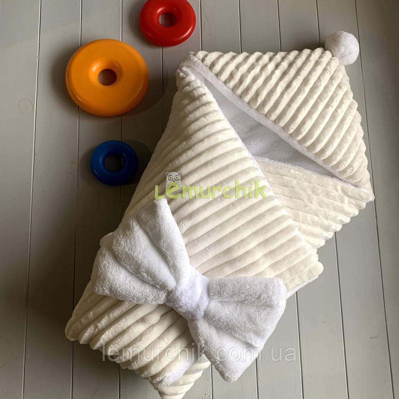 Конверт-ковдру минки на махре з капюшоном і бубончиком, молочний