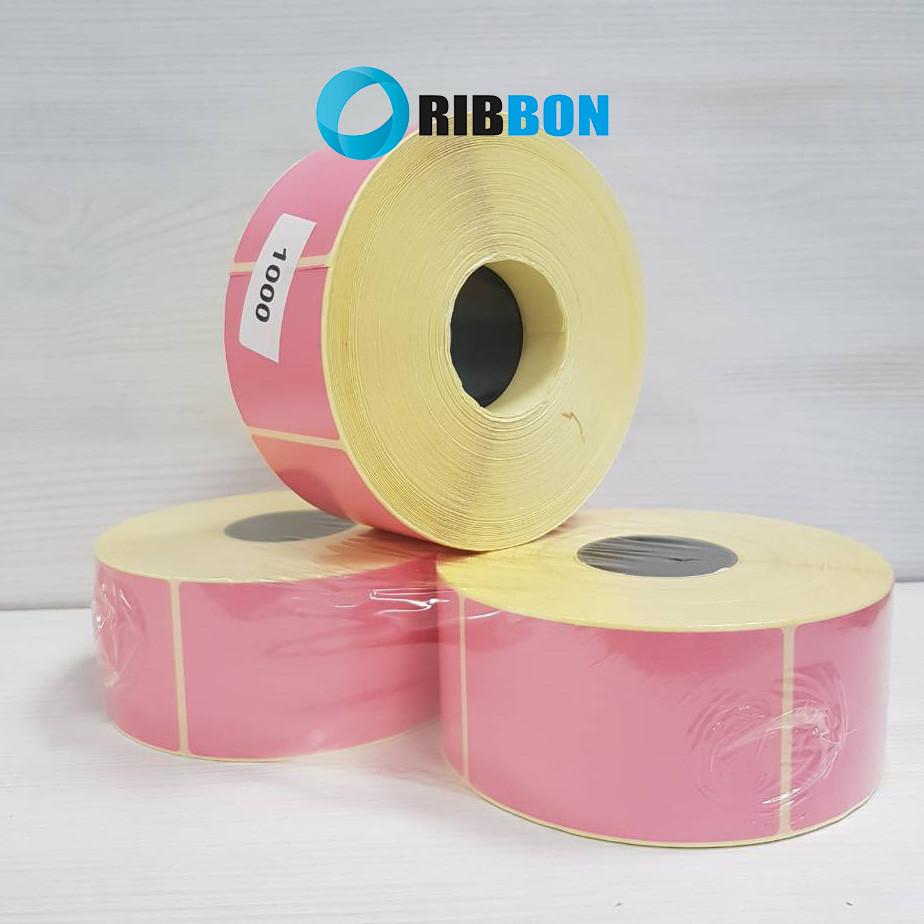 Термотрансферна етикетка напівглянець 48х80 рожева (1000 шт.)