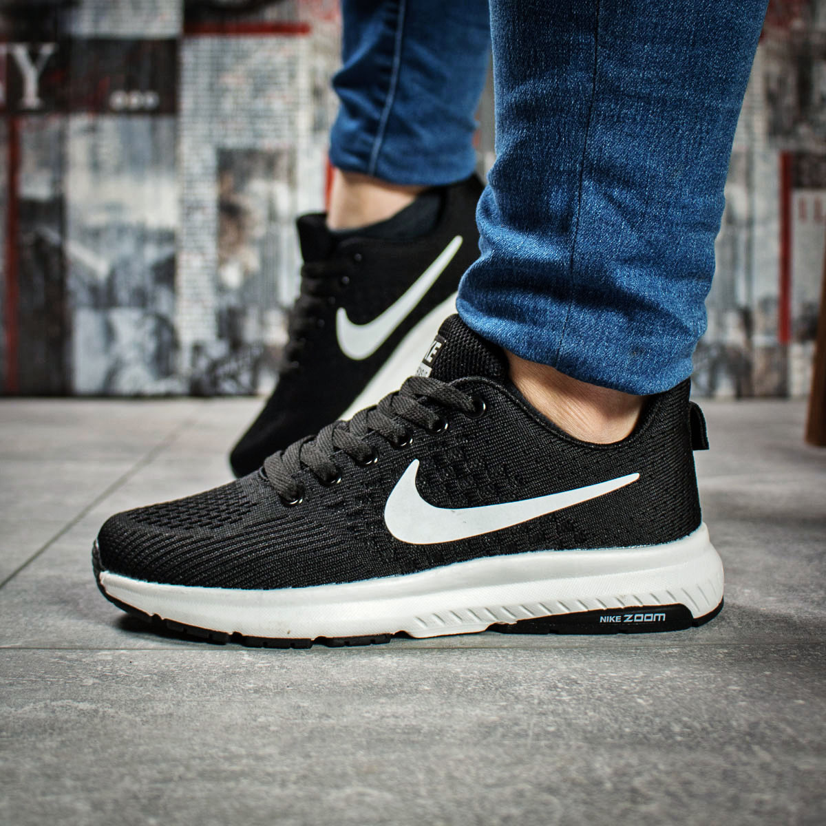 Кроссовки женские 16001, Nike Zoom Pegasus, черные, < 37 38 > р. 37-23,7см.