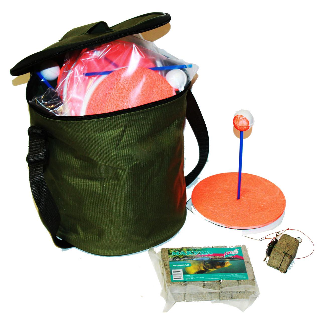 Кружок(балабайка) оснащенный на карпа (10 шт.) в сумке + макуха