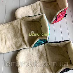 Теплая меховая вставка сидушка в санки с рисунком, цвет на выбор