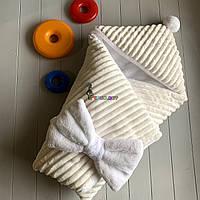 Конверт-одеяло на махре с капюшоном и бубончиком, молочный, фото 1