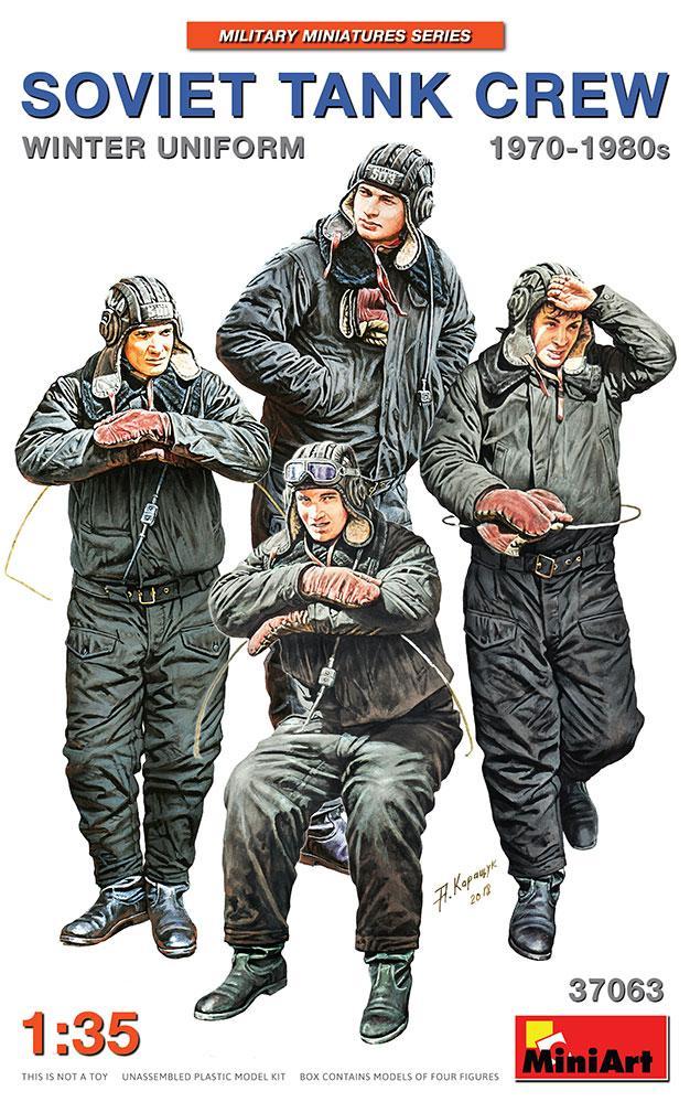 Набор пластиковых фигур для сборки. Советский экипаж танка в зимней форме 1970-80 гг. MINIART 37063