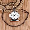 Кишенькові чорні чоловічі годинник на ланцюжку мідний колір, фото 4