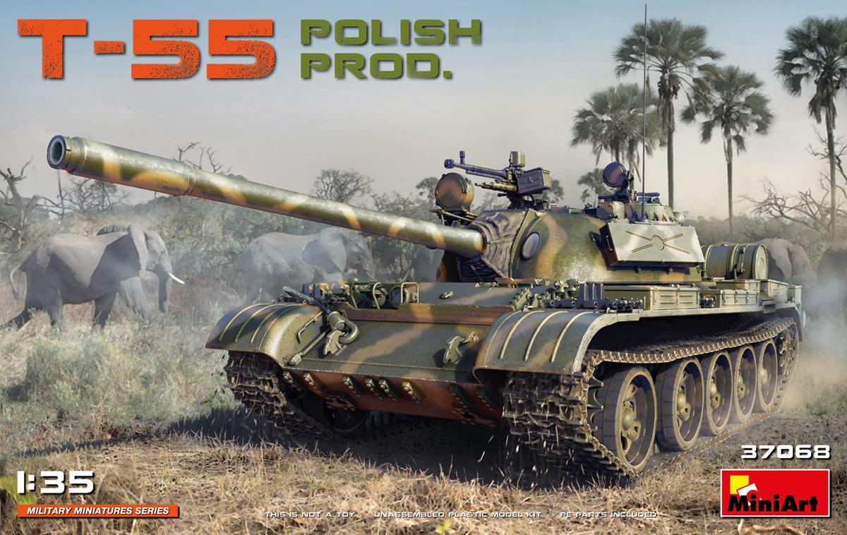 Сборная модель танка Т-55 польского производства. 1/35 MINIART 37068