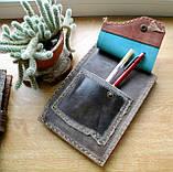 Кожаная обложка под скетчбук ручной работы подарок, фото 8