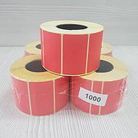 Термотрансферна етикетка п/г 52х30 червона (пастельна) (1000 шт.)