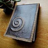 Кожаная обложка под скетчбук ручной работы подарок, фото 4