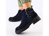 Женские ботинки темно-синие велюр и кожа