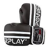 Боксерські рукавиці PowerPlay 3010 Чорно-Білі 12 унцій SKL24-144000, фото 7