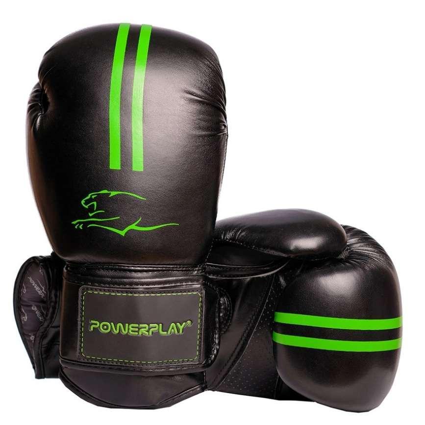 Боксерські рукавиці PowerPlay 3016 Чорно-Зелені 8 унцій SKL24-143712
