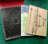 Обложка блокнота скетчбука ежедневника винтажная кожа ручная работа формат а5, фото 10
