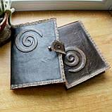 Обложка блокнота скетчбука ежедневника винтажная кожа ручная работа формат а5, фото 3