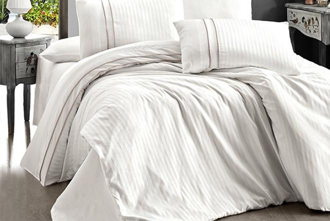 Постельное белье двуспальное евро FIRST CHOICE Stripe Style Krem