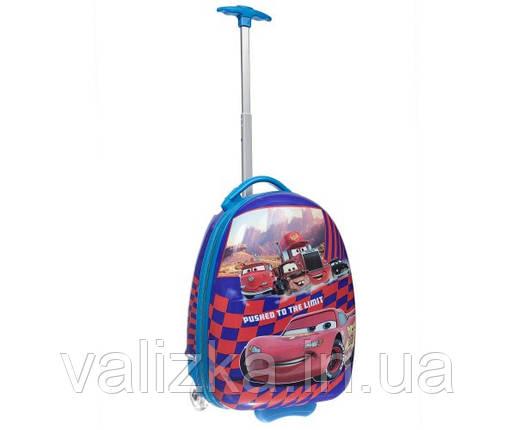 Чемодан дорожный детский для мальчика 2 колеса ручная кладь Молния Маккуин, фото 2