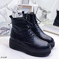 39 р. Ботинки женские деми черные кожаные на низком ходу, демисезонные, из натуральной кожи,натуральная кожа, фото 1