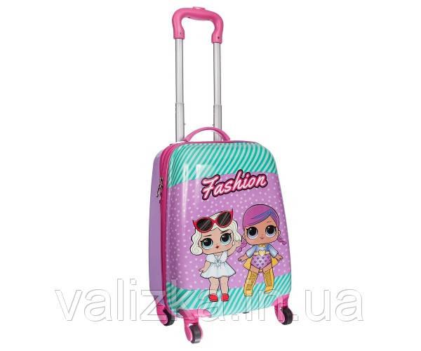 Чемодан дорожній дитячий для дівчинки 4 колеса ручна поклажа 2 лялечки