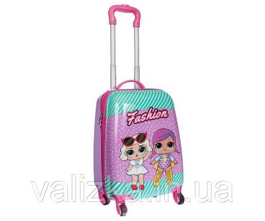 Чемодан дорожній дитячий для дівчинки 4 колеса ручна поклажа 2 лялечки, фото 2