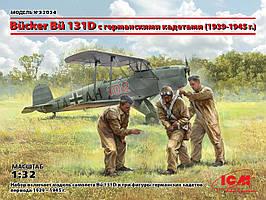 Сборная модель биплана. Bücker Bü 131D с германскими кадетами (1939-1945 г.) ICM 32034