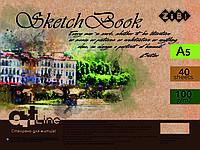 Скетчбук А5, 40 листов, пружина, белый блок 100 г/м2