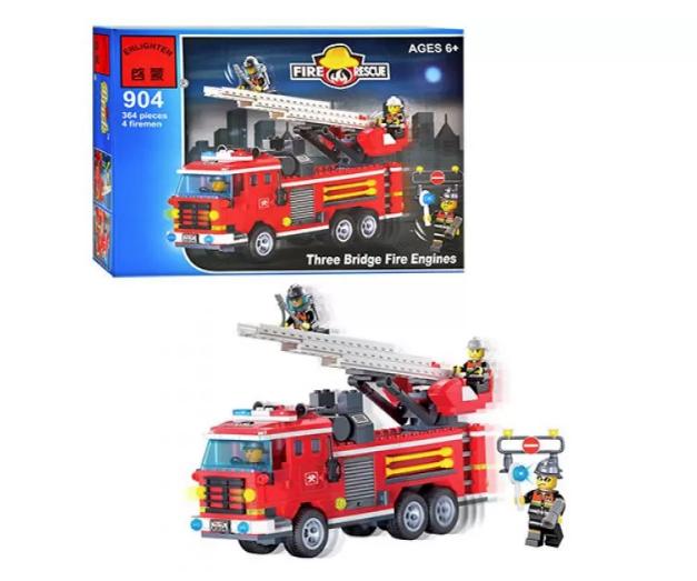 Конструктор Пожарная машина с гидрантами и подъемной лестницей BRICK 904 +ПОДАРОК