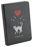 "Блокнот с черными листами A6 ""I Love cat"",112 листо"
