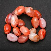 Бусины натуральный камень Сардоникс на нитке галтовка, диаметр 15х20(+-)мм, длина 39см