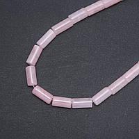 Бусины натуральный камень Розовый кварц цилиндр, диаметр 8х17мм нитка, длина 39см