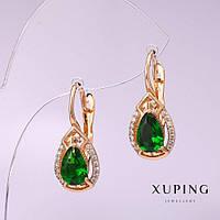 Серьги Xuping с зелеными камнями 24х10мм позолота 18к